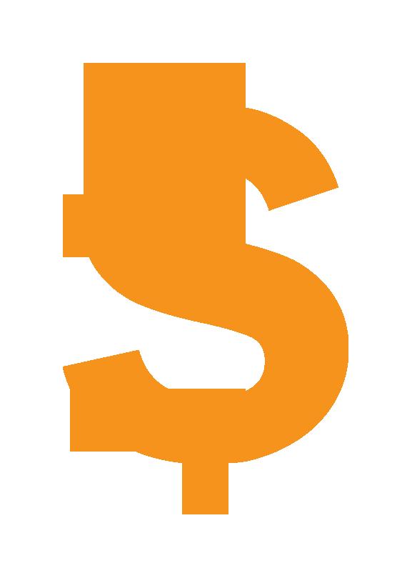 Dollar sign orange. Clipart transparent background