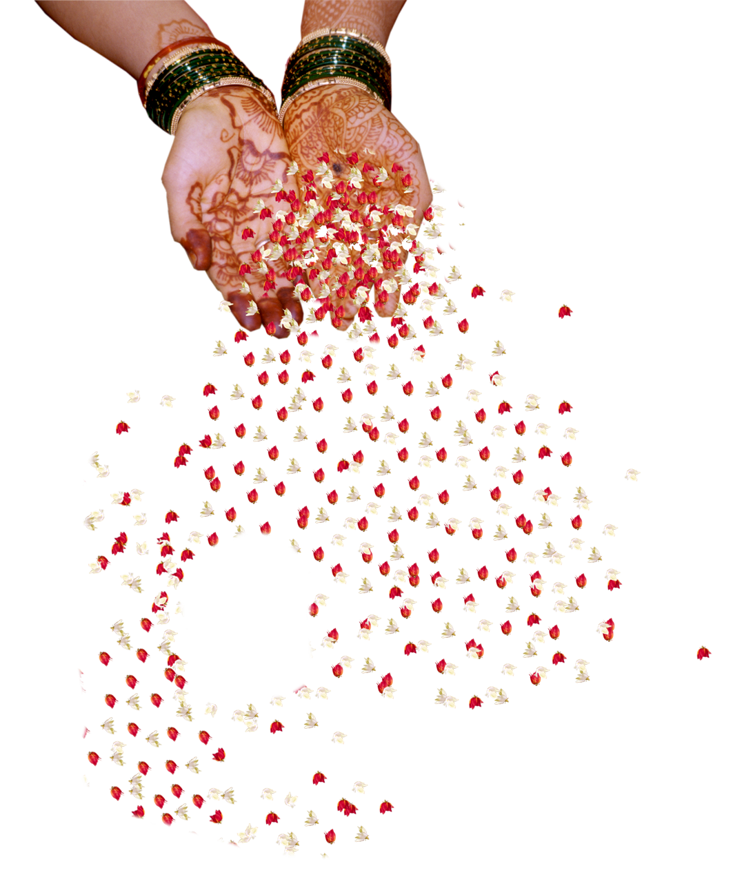 Paper Flower Wedding Hand Png With Flower Falling