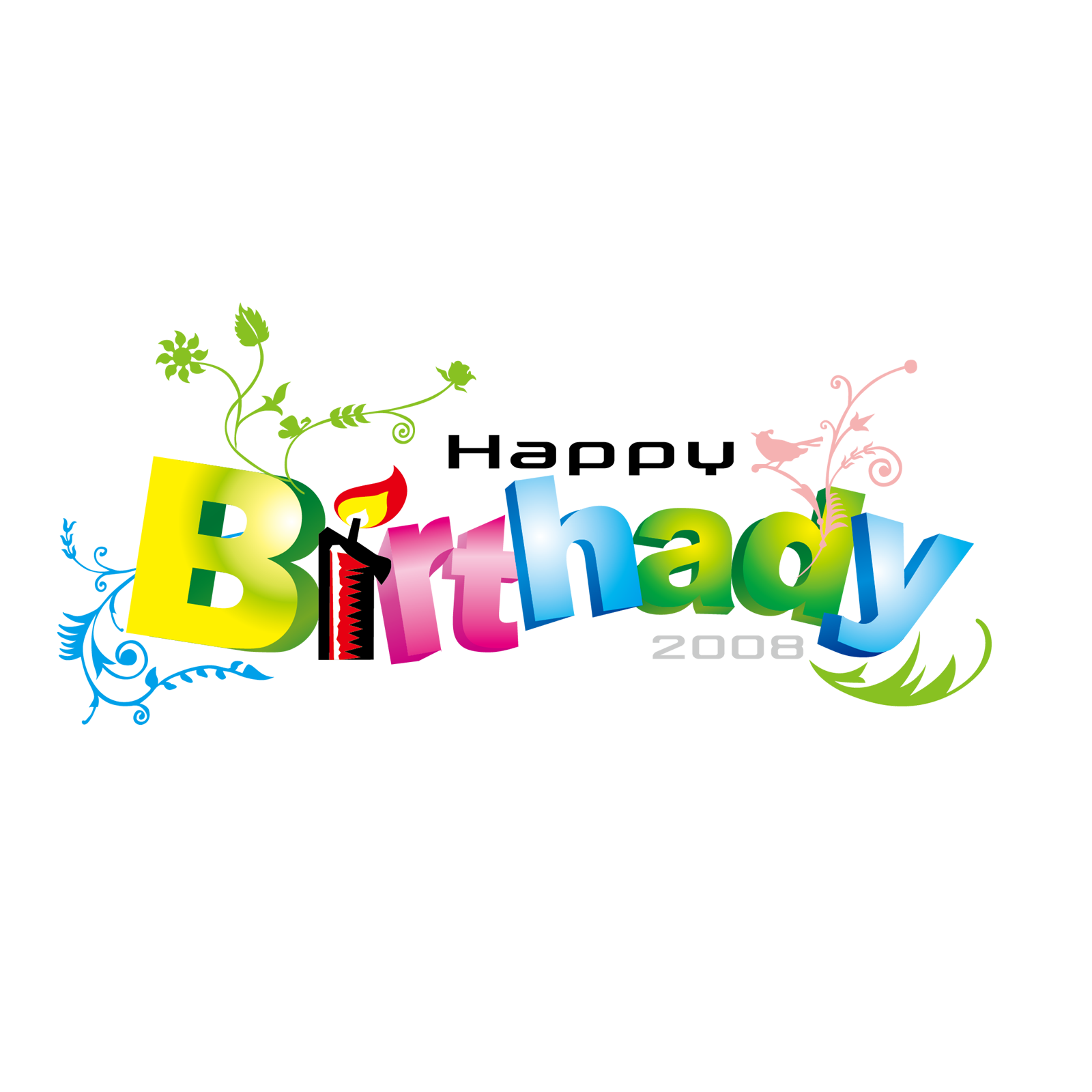 Happy Birthday Text Art, Design in PNG, VECTOR, PSD format