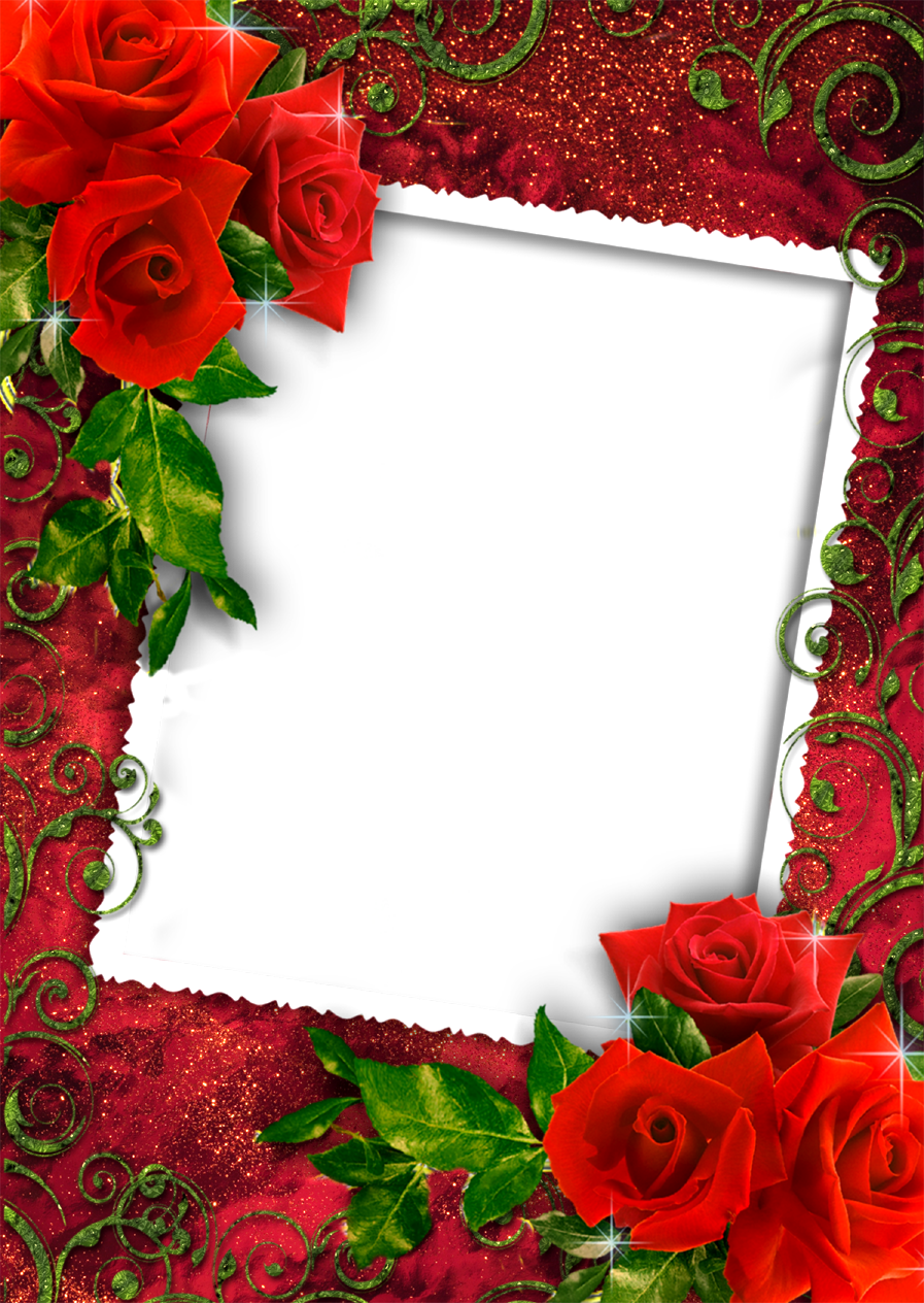 Rose frame png, Red Rose photo frame png, love and Red Rose pds frame ...